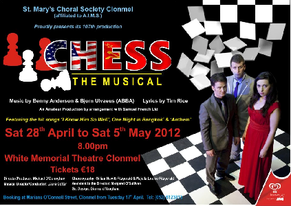 Post image for St Mary's Choral Society proudly presents 'Chess The Musical'
