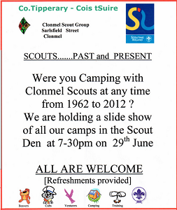 Post image for Clonmel Scouts – 50 years of Camping Slide Show