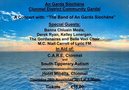 Fundraising Concert in aid of Cancer CARE Clonmel and South Tipperary Autism Support Group @ Hotel Minella