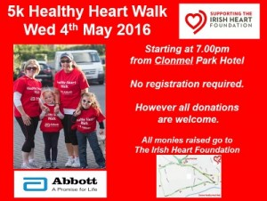 Clonmel Healthy Heart Walk 2016 in Aid of the Irish Heart Foundation @ Clonmel Park Hotel