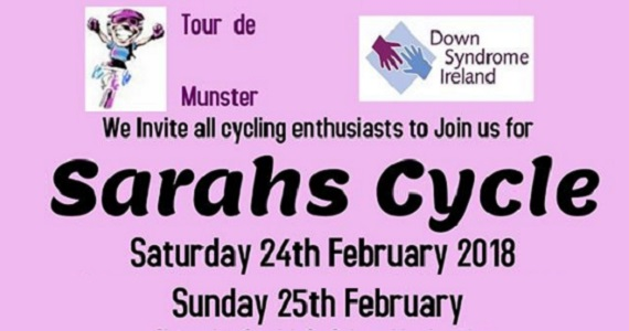 Sarahs Cycle February 2018 with donations to the Tipperary Branch of Down Syndrome Ireland @ Clonmel Park Hotel