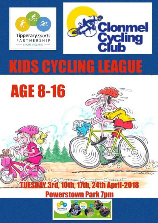 Kids Cycling League 8 – 16 years with Clonmel Cycling Club 2018 @ Powerstown Park