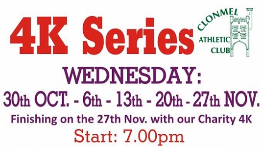 Clonmel Athletic Club 4K Series October/November 2019 @ Brothers Of Charity Car Park