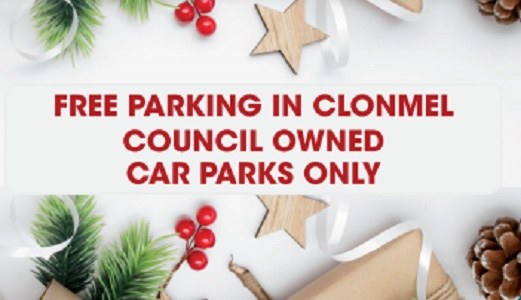 Free Parking in Clonmel Council owned car parks only  – Christmas 2020